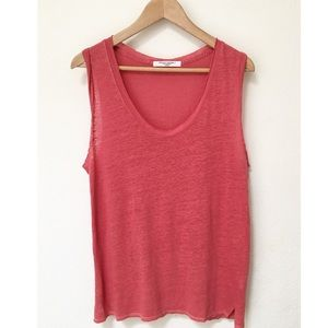 NWOT Project Social T 100% Linen Red Tank Top
